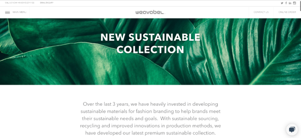 weavabel sustainable collection webpage